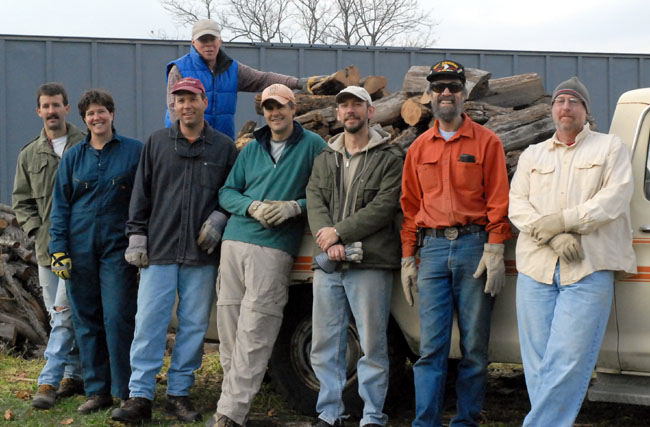 Jim's Wood stacking crew